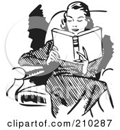 Royalty Free RF Clipart Illustration Of A Retro Black And White Woman Reading In A Chair