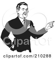 Royalty Free RF Clipart Illustration Of A Retro Black And White Businessman Pointing
