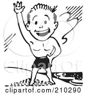 Royalty Free RF Clipart Illustration Of A Retro Black And White Man In Swim Trunks Waving On A Beach by BestVector