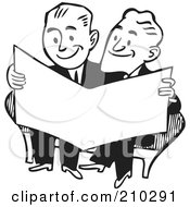 Royalty Free RF Clipart Illustration Of Retro Black And White Businessmen Reading A Paper by BestVector