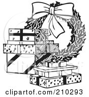 Royalty Free RF Clipart Illustration Of A Retro Black And White Christmas Wreath And Presents by BestVector