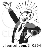 Royalty Free RF Clipart Illustration Of A Retro Black And White Businessman Gesturing Up Left