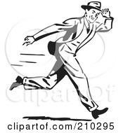 Royalty Free RF Clipart Illustration Of A Retro Black And White Man Holding Onto His Hat While Running
