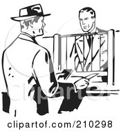 Royalty Free RF Clipart Illustration Of A Retro Black And White Businessman Talking To A Bank Teller