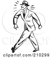 Royalty Free RF Clipart Illustration Of A Retro Black And White Businessman Walking Tough