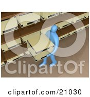 Clipart Illustration Of A Blue Person Carrying A Storage Box Past Shelves In An Office by 3poD