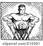 Royalty Free RF Clipart Illustration Of A Retro Black And White Bodybuilder Pulling With His Arms
