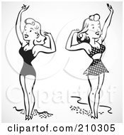 Digital Collage Of Retro Black And White Women In Bathing Suits Waving