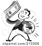 Royalty Free RF Clipart Illustration Of A Retro Black And White Businessman Holding A Coin And Cash by BestVector