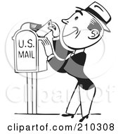 Royalty Free RF Clipart Illustration Of A Retro Black And White Man Inserting A Letter In A Mail Box