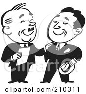 Royalty Free RF Clipart Illustration Of Retro Black And White Businessmen Standing And Talking