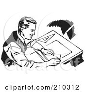 Royalty Free RF Clipart Illustration Of A Retro Black And White Male Architect Drafting