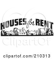 Royalty Free RF Clipart Illustration Of A Retro Black And White Houses For Rent Sign by BestVector