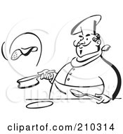 Royalty Free RF Clipart Illustration Of A Retro Black And White Chef Flipping A Pancake