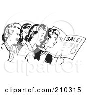 Royalty Free RF Clipart Illustration Of A Retro Black And White Women Reading An Advertisement by BestVector