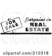 Royalty Free RF Clipart Illustration Of A Retro Black And White For Sale Bargains In Real Estate Sign by BestVector