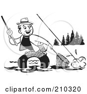 Royalty Free RF Clipart Illustration Of A Retro Black And White Man Wading And Trying To Get His Fish In A Net by BestVector