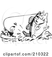 Royalty Free RF Clipart Illustration Of A Retro Black And White Man Being Pulled By A Giant Fish