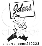 Royalty Free RF Clipart Illustration Of A Retro Black And White Man Carrying An Ideas Sign by BestVector