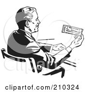 Royalty Free RF Clipart Illustration Of A Retro Black And White Businessman Sitting At A Desk And Holding A Check