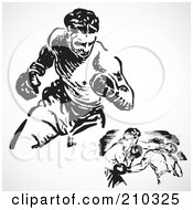Royalty Free RF Clipart Illustration Of A Digital Collage Of Retro Black And White Boxers Fighting