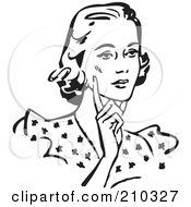 Royalty Free RF Clipart Illustration Of A Retro Black And White Woman Touching Her Cheek And Looking Concerned