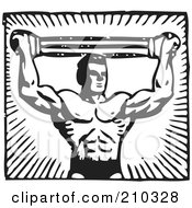 Royalty Free RF Clipart Illustration Of A Retro Black And White Bodybuilder Pulling A Band Above His Head