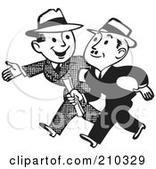 Royalty Free RF Clipart Illustration Of Retro Black And White Businessmen Talking And Walking