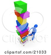Clipart Illustration Of A Blue Person Pushing A Cart In A Store Purchasing A Lot Of Items