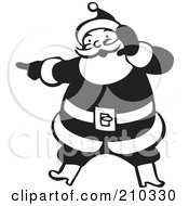 Royalty Free RF Clipart Illustration Of A Retro Black And White Santa Shouting And Pointing by BestVector