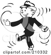 Royalty Free RF Clipart Illustration Of A Retro Black And White Businessman Walking And Snapping His Fingers by BestVector