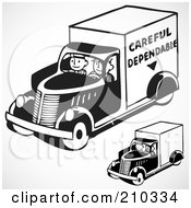 Royalty Free RF Clipart Illustration Of A Digital Collage Of Retro Black And White Men Driving Delivery Trucks by BestVector