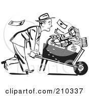 Royalty Free RF Clipart Illustration Of A Retro Black And White Businessman Pushing A Wheel Barrow Of Cash To The Right by BestVector