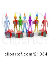 Clipart Illustration Of A Group Of Diverse Friends With Gifts And A Birthday Cake Waiting For A Surprise Party