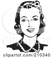 Royalty Free RF Clipart Illustration Of A Retro Black And White Woman Looking Forward And Smiling by BestVector #COLLC210340-0144