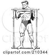 Royalty Free RF Clipart Illustration Of A Retro Black And White Bodybuilder Lifting A Bar