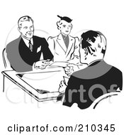 Royalty Free RF Clipart Illustration Of A Retro Black And White Couple Discussing A Loan by BestVector