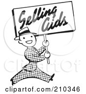 Royalty Free RF Clipart Illustration Of A Retro Black And White Man Carrying A Selling Aids Sign by BestVector