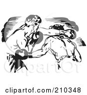 Royalty Free RF Clipart Illustration Of Retro Black And White Boxers Fighting