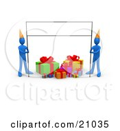 Two Blue People In Party Hats Holding Up A Blank Banner Sign Over Birthday Presents