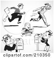Royalty Free RF Clipart Illustration Of A Digital Collage Of Retro Black And White Men Running And Sending Mail