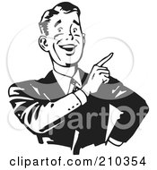 Royalty Free RF Clipart Illustration Of A Retro Black And White Businessman Smiling And Pointing