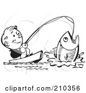 Royalty Free RF Clipart Illustration Of A Retro Black And White Man Catching A Giant Fish by BestVector