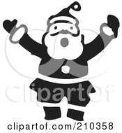 Royalty Free RF Clipart Illustration Of A Retro Black And White Santa Shouting by BestVector
