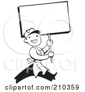 Royalty Free RF Clipart Illustration Of A Retro Black And White Man Carrying A Blank Sign by BestVector
