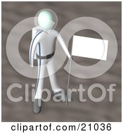 Clipart Illustration Of An Astronaut In A Space Suit Standing On A Planet With A Flag In The Ground