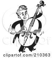 Retro Black And White Musician Facing Right And Playing A Bass