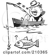 Royalty Free RF Clipart Illustration Of A Retro Black And White Man Sleeping In A Boat And Catching A Fish by BestVector