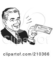 Royalty Free RF Clipart Illustration Of A Retro Black And White Businessman Smiling And Holding A Check by BestVector