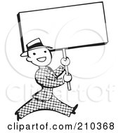 Royalty Free RF Clipart Illustration Of A Retro Black And White Man Walking With A Blank Sign by BestVector